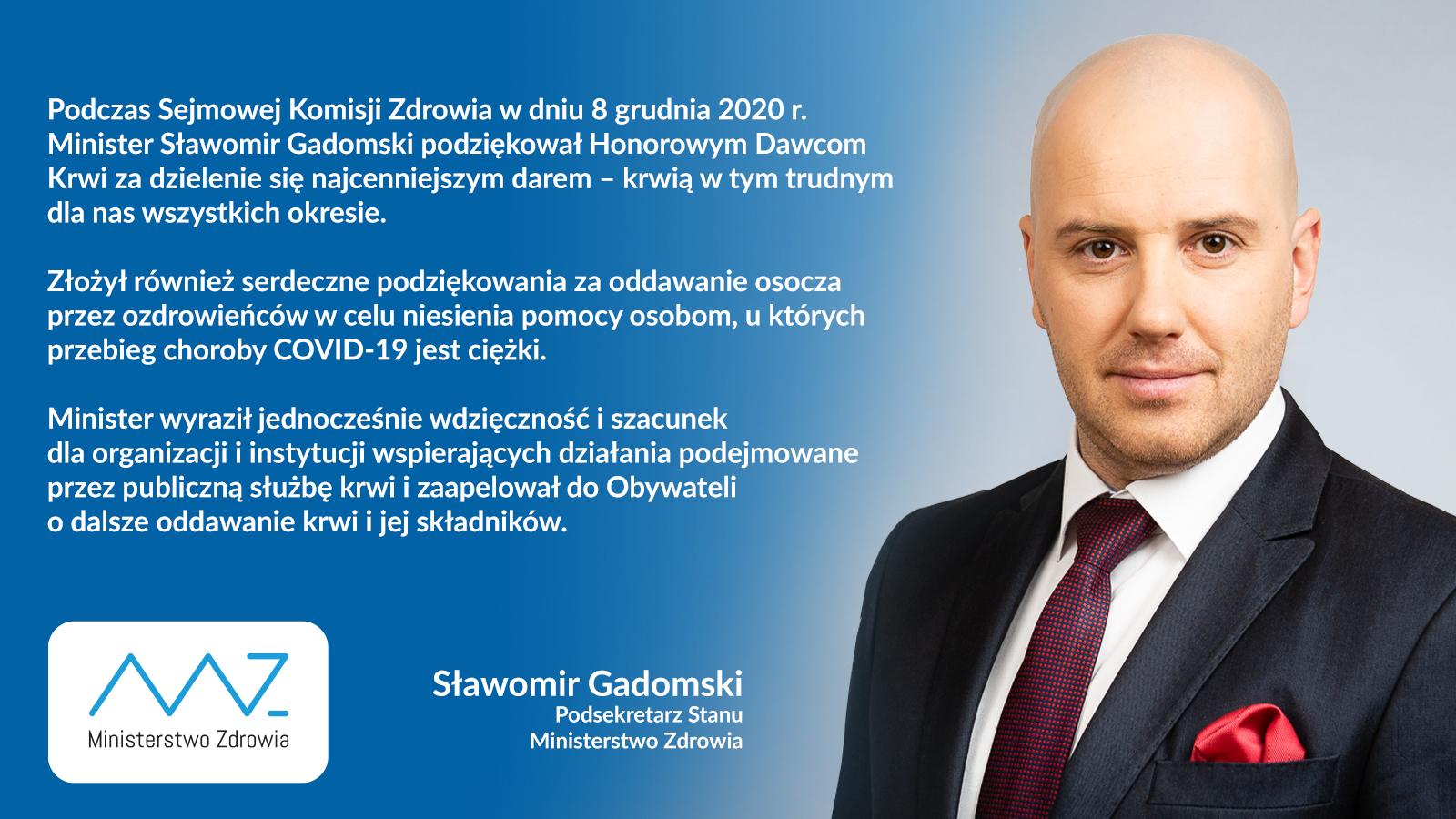 Minister Gadomski dziękuje zawsparcie publicznej służby krwi